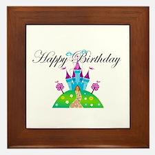 Happy Birthday Blue Fairy Tale Castle Framed Tile