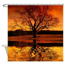 Reflections Of A Orange Sunset Shower Curtain