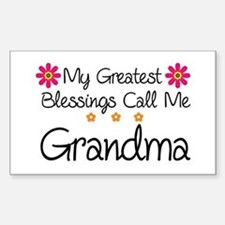 Blessings Grandma Sticker (Rectangle)