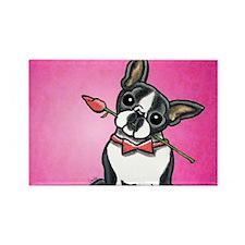 Boston Terrier Rose Rectangle Magnet