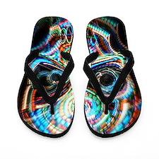 neon skull Flip Flops