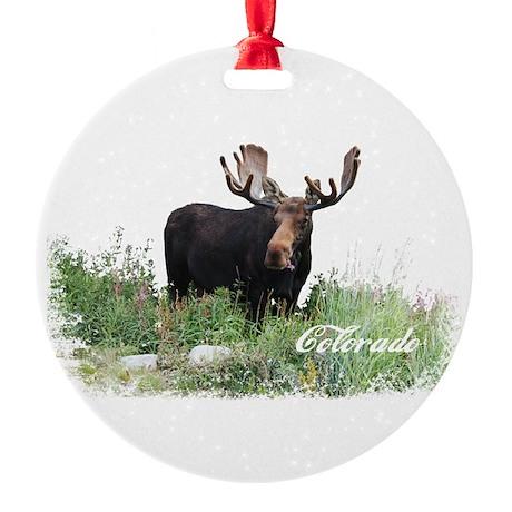 Colorado Moose Round Ornament