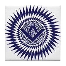 Masonic Blue Lodge Starburst Tile Coaster