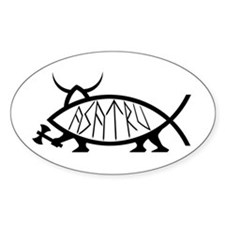 Asatru Fish Oval Decal