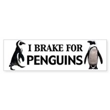 I brake for Penguins Bumper Bumper Sticker