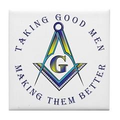 Masonic Taking Good Men Tile Coaster