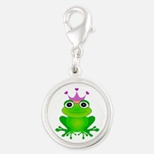 Purple Crown Frog Prince Silver Round Charm