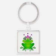 Purple Crown Frog Prince Square Keychain