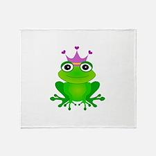 Purple Crown Frog Prince Throw Blanket