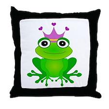 Purple Crown Frog Prince Throw Pillow