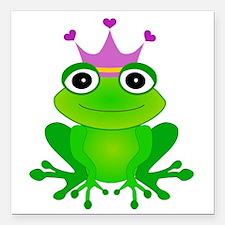 "Purple Crown Frog Prince Square Car Magnet 3"" x 3"""