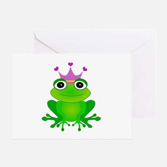 Purple Crown Frog Prince Greeting Card
