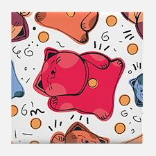 Japanese Fortune Cat Tile Coaster