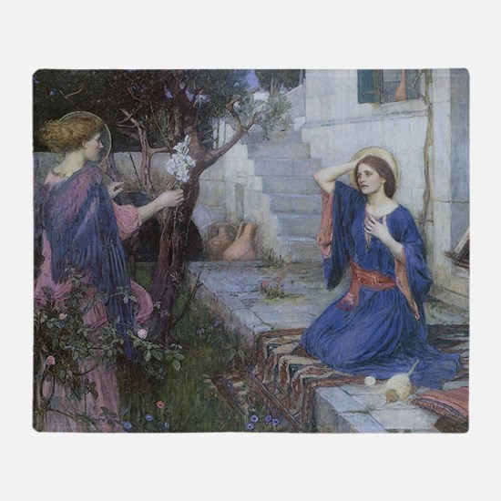 Annunciation by JW Waterhouse Throw Blanket