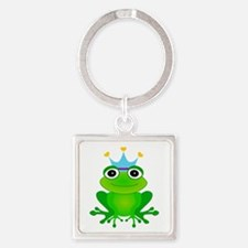 Blue Crown Frog Prince Square Keychain