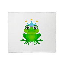 Blue Crown Frog Prince Throw Blanket