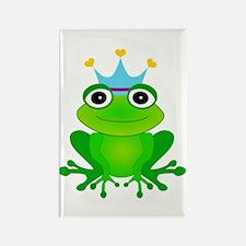 Blue Crown Frog Prince Rectangle Magnet