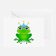 Blue Crown Frog Prince Greeting Card