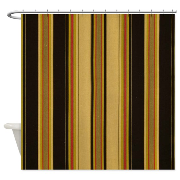 Bold black and tan striped shower curtain by stripstrapstripes Bold black and white striped curtains