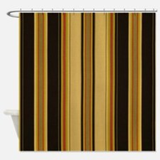 Bold Black and Tan Striped Shower Curtain