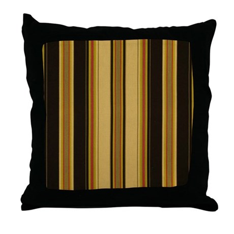 Bold Black and Tan Striped Throw Pillow by stripstrapstripes