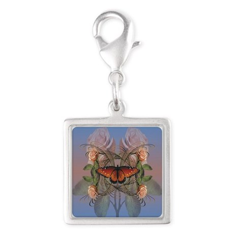 Butterfly and Roses Silver Square Charm