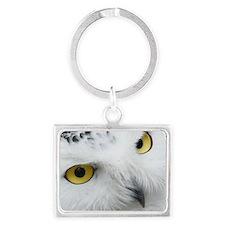 white snowy owl face closeup Landscape Keychain