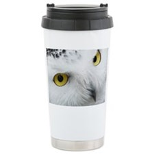 white snowy owl face closeup Travel Mug