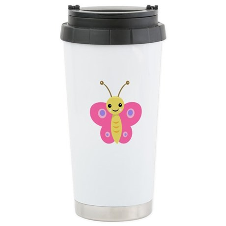 Pink Baby Butterfly Stainless Steel Travel Mug