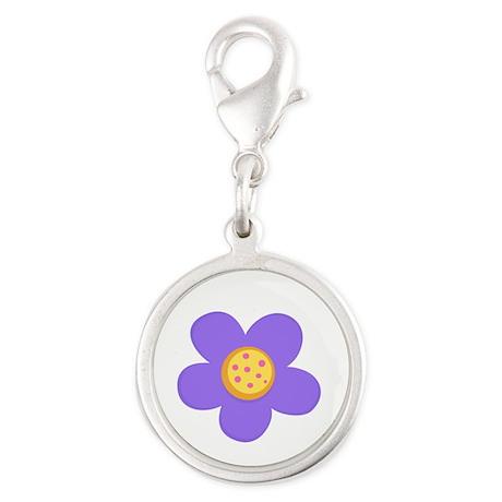 Purple Flower Silver Round Charm