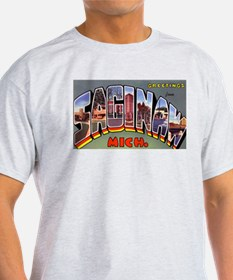 Saginaw Michigan Greetings (Front) Ash Grey T-Shir