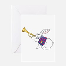 White Rabbit and Trumpet Greeting Card
