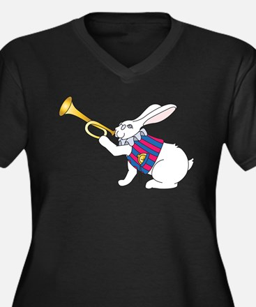 White Rabbit and Trumpet Plus Size T-Shirt