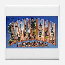 Savannah Georgia Greetings Tile Coaster