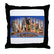 Savannah Georgia Greetings Throw Pillow