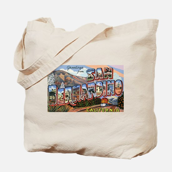 San Bernardino California Greetings Tote Bag