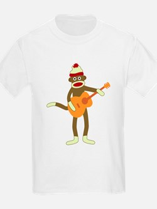 Sock Monkey Acoustic Guitar Player Kid's T-Shirt