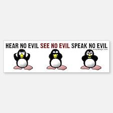 No Evil Penguins Bumper Bumper Sticker