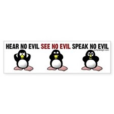 No Evil Penguins Bumper Sticker