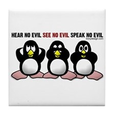No Evil Penguins Tile Coaster