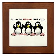 No Evil Penguins Framed Tile