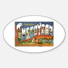 Sheboygan Wisconsin Greetings Oval Decal
