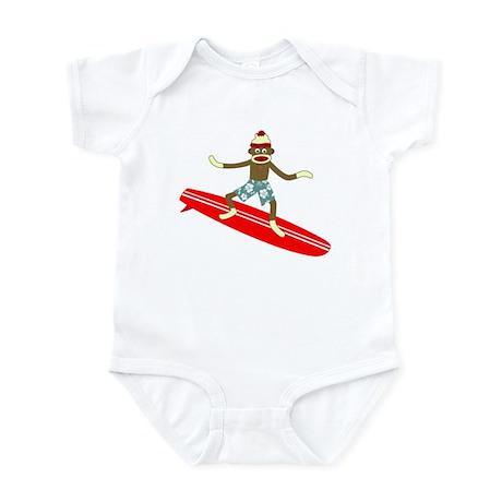 Sock Monkey Longboard Surfer Infant Bodysuit