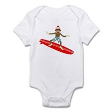 Sock Monkey Longboard Surfer Infant Bodysuit