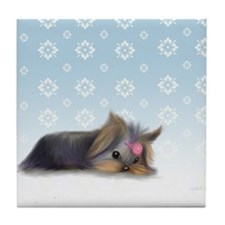 ByCatiaCho Yorkie L.Thinker Tile Coaster