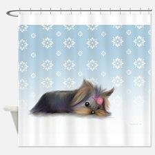 ByCatiaCho Yorkie L.Thinker Shower Curtain