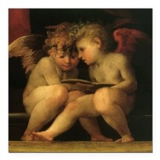 """Cherubs Reading by Fiore Square Car Magnet 3"""" x 3"""""""