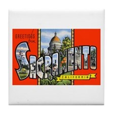 Sacramento California Greetings Tile Coaster