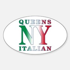 Queens New York Italian Oval Stickers