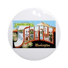 Seattle Washington Greetings Ornament (Round)